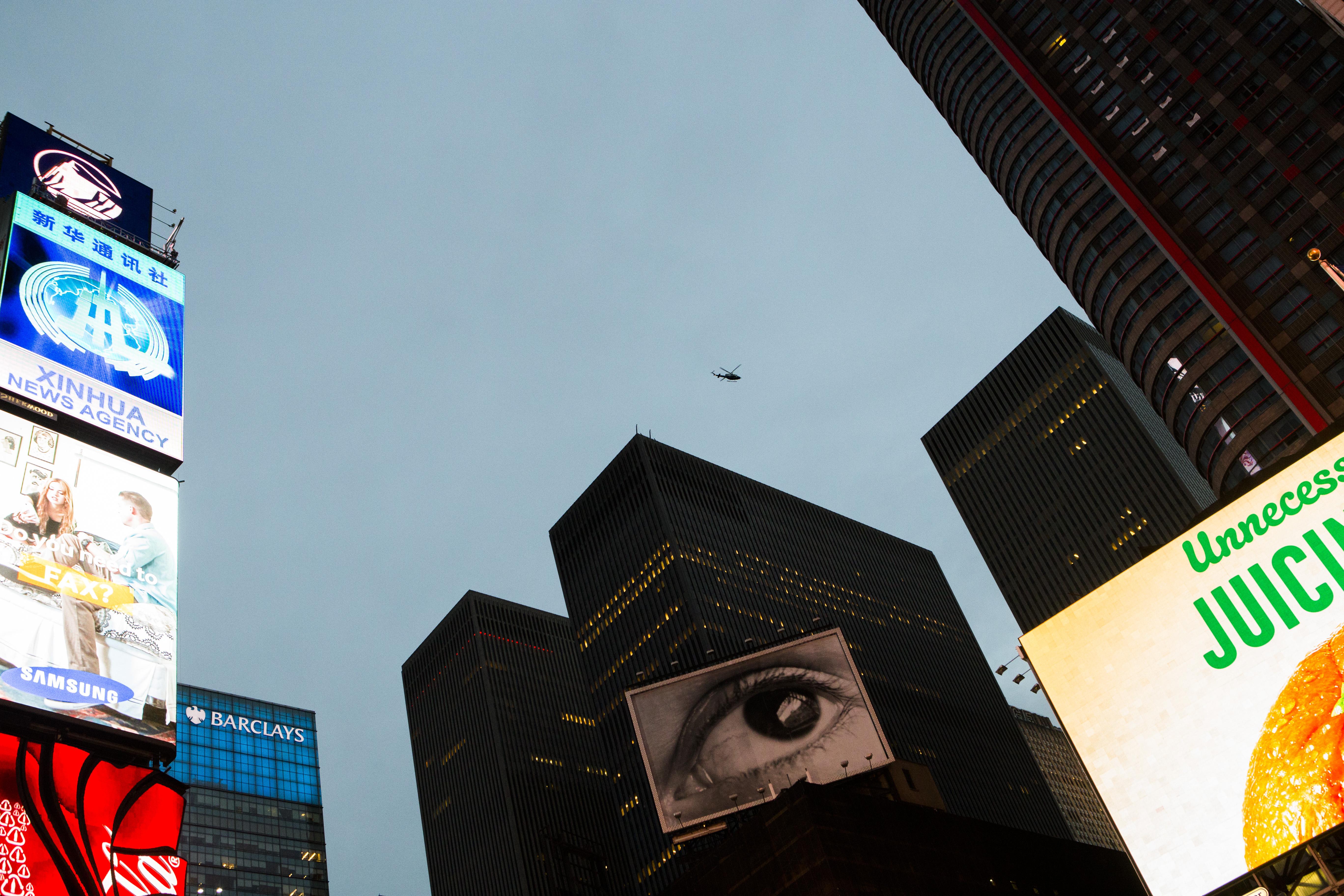 Super Bowl Fans Gather In Manhattan Under Tight Security