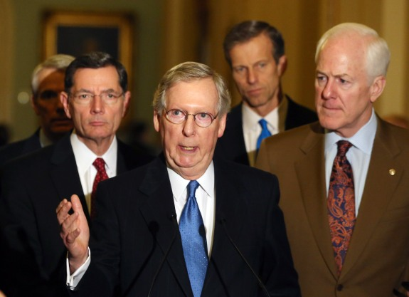 Senate Leaders Address The Media After Their Weekly Policy Luncheon