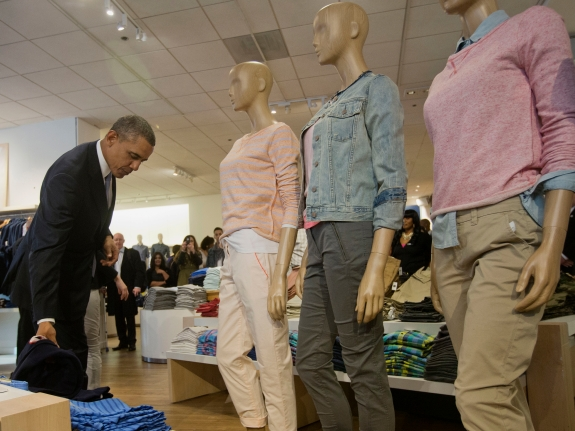 President Obama shops at the Gap, which is raising the minimum wage for its employees.