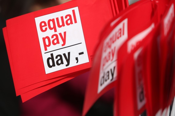 """Equal Pay Day"" Protesters Demand Equal Pay For Women"