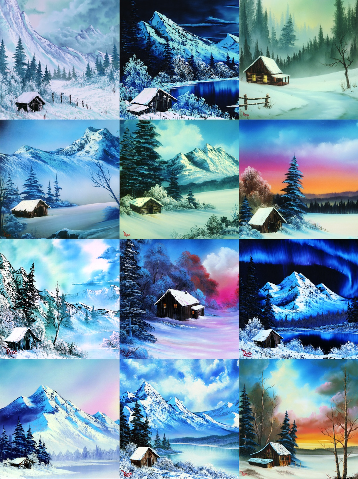 "Paintings by Bob Ross featured on PBS's ""The Joy of Painting."""