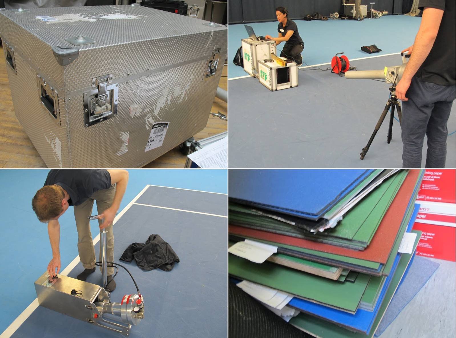 The International Tennis Federation uses a bulky steel crate, top left, to ship heavy measuring devices to tournament sites. The outsized Sestée, top right, is difficult to transport, so manufacturers often send samples of their courts, bottom right, to the ITF. The latest-generation device is the SPRite, operated here by Jamie Capel-Davies, manager of ITF's science and technical department. Its accuracy is still being studied.