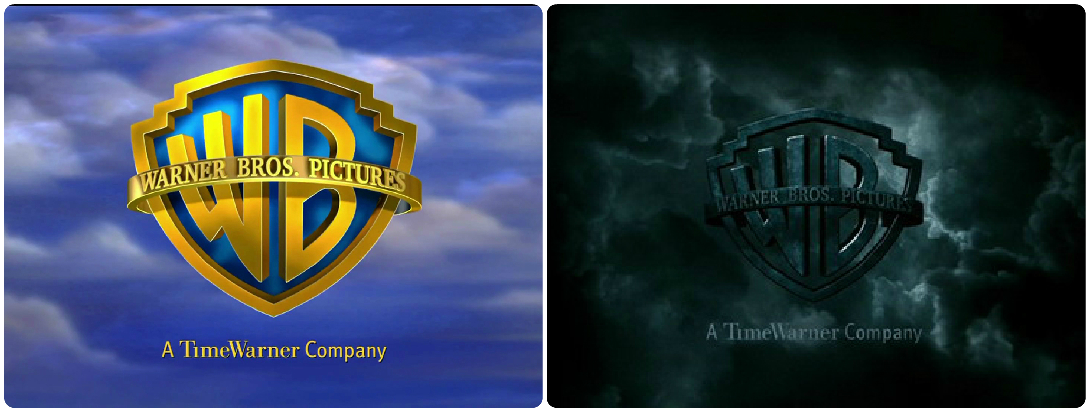 "A more typical Warner Bros. Pictures logo (left) and the logo for ""Harry Potter and the Half Blood Prince."""
