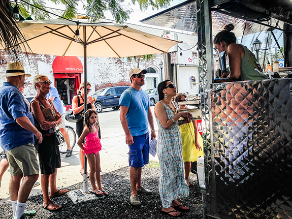 Customers wait at Garbo's Grill in Key West, Florida. Photo by Anna Barry-Jester.