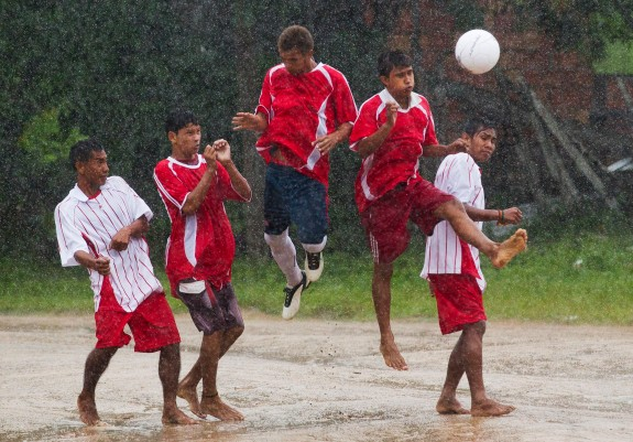 Amazon Indians play a soccer match between various ethnic groups of indigenous communities in Nossa Senhora do Livramento