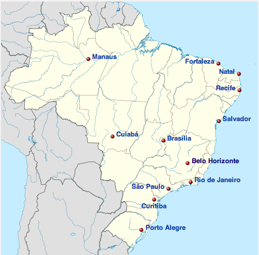 Host sites for the 2014 World Cup.