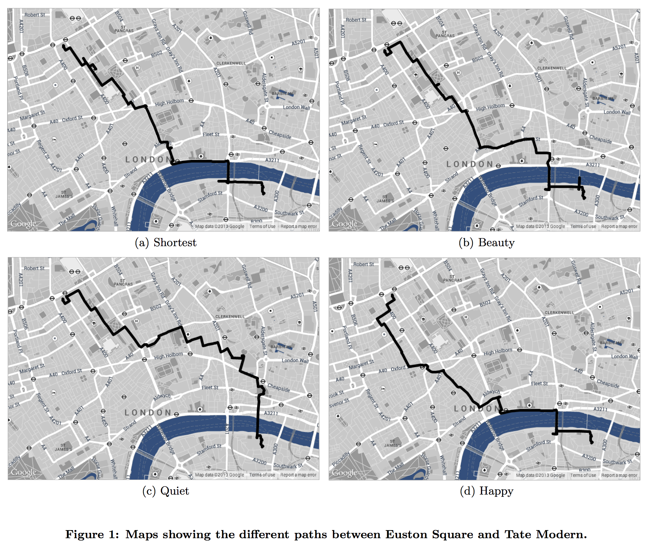 From the Yahoo Labs paper about walking routes in London.