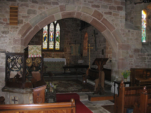 Chancel and altar, St. Mary's near to English Bicknor, Gloucestershire, Great Britain