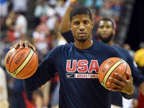 Paul George Warms Up Before A USA Basketball Showcase Game In Which He Suffered An Injury On Aug 1 2014 Las Vegas