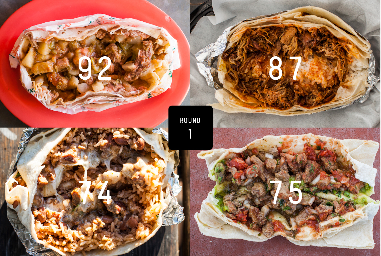 Clockwise from top left: Delicious Mexican Eatery, Kono's, Joel's, Rancho Bravo.