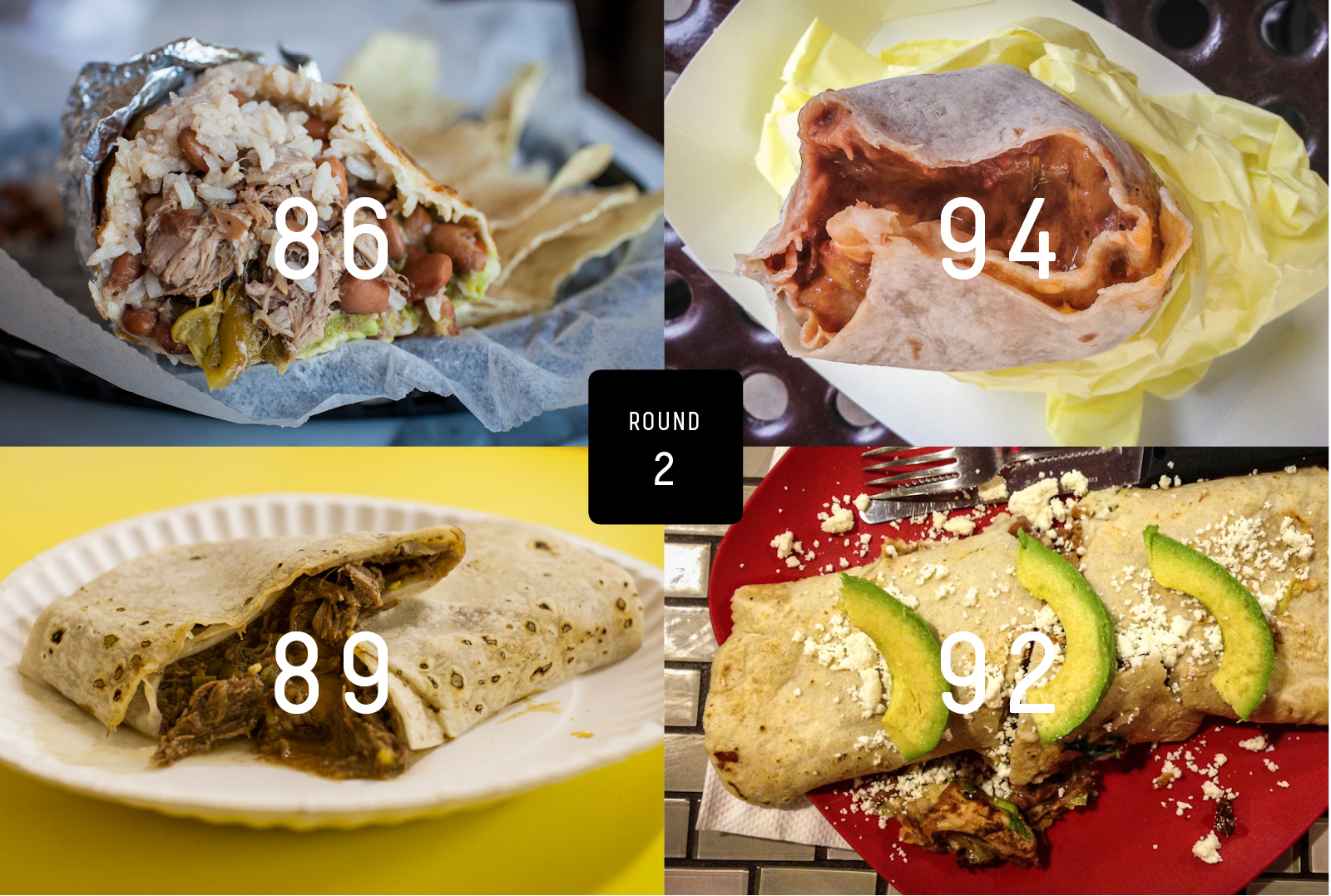 Clockwise from top left: Bell Street Burritos, Al & Bea's Mexican Food, Pancho's Mexican Taqueria, Carolina's Mexican Food.