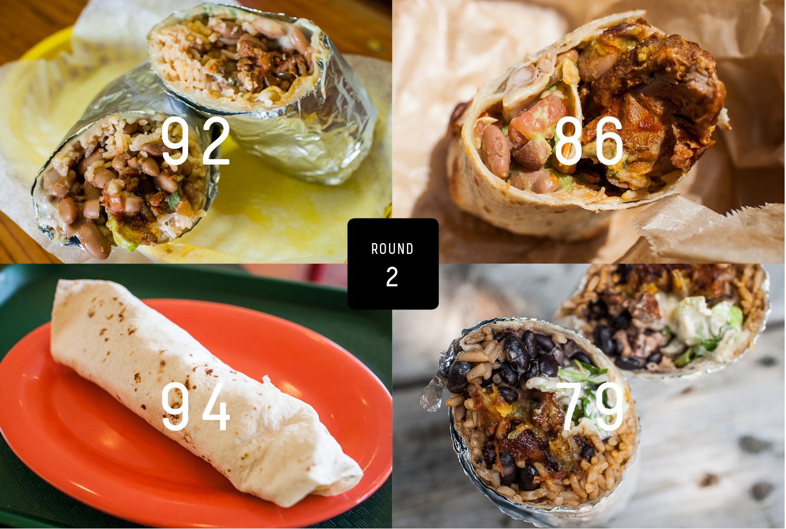 Clockwise from top left: Taqueria Cancun, Little Donkey, El Pélon Taqueria, Delicious Mexican Eatery.