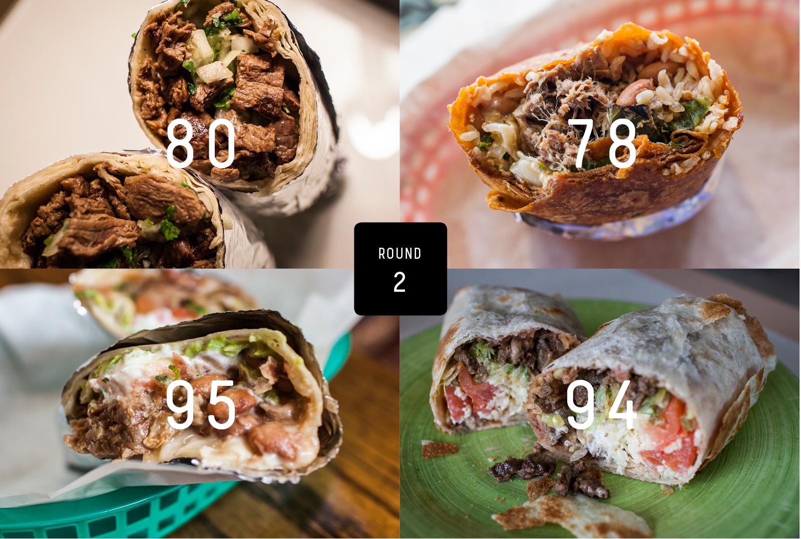 Clockwise from top left: La Pasadita, Cabo Bob's Burrito, Tortilleria Y Taqueria Ramirez, La Taqueria.