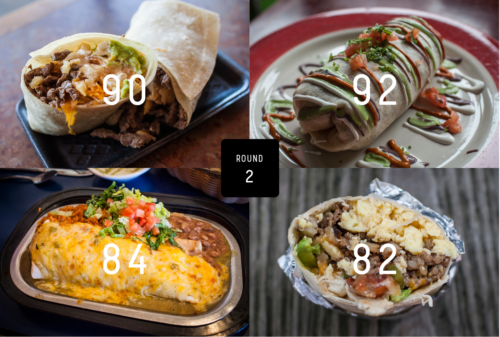 Clockwise from top left: Lolita's Taco Shop, Taqueria Tlaxcalli, Breakfast Burritos Anonymous, The Pantry.