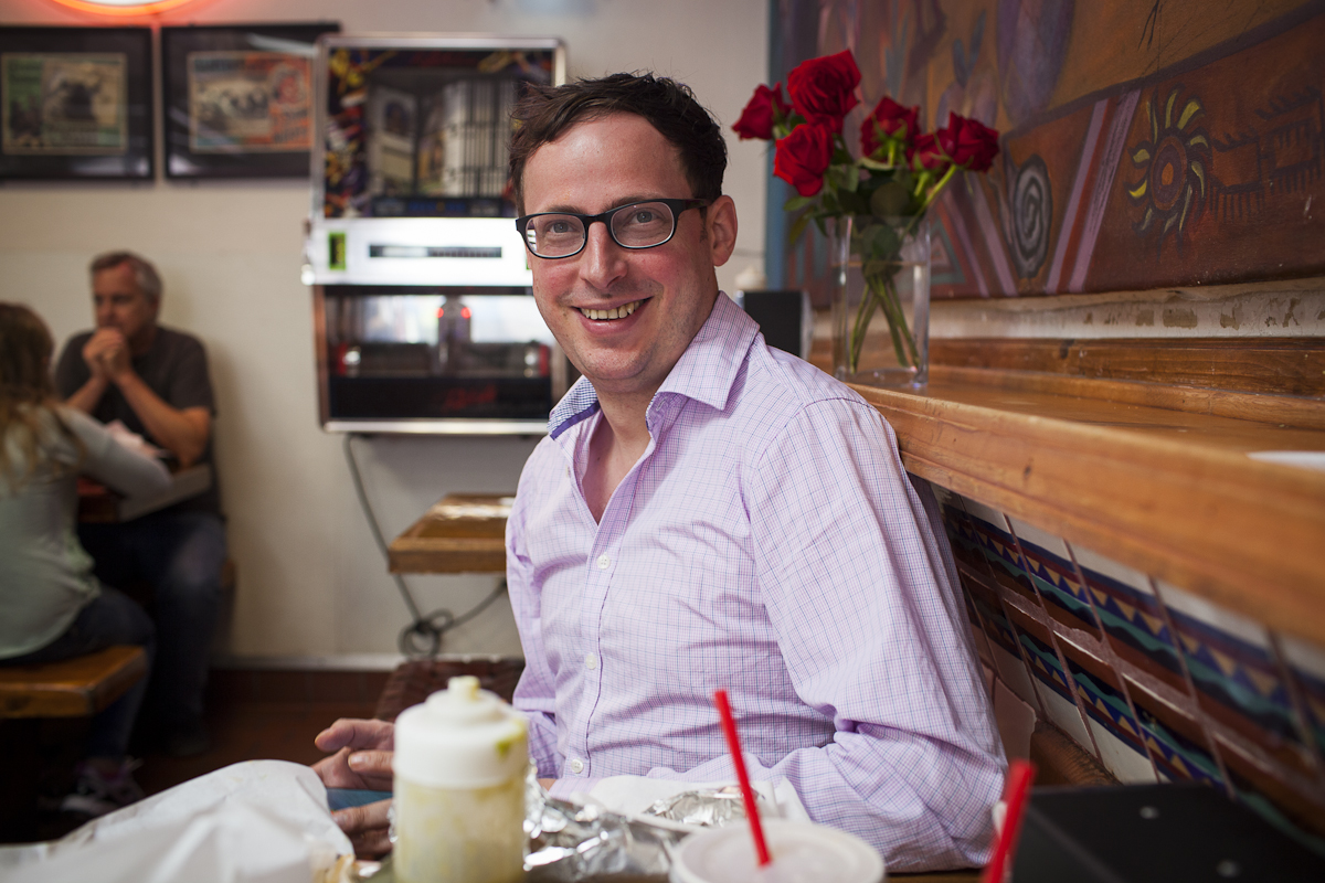 Nate Silver enjoys a burrito at La Taqueria in San Francisco.