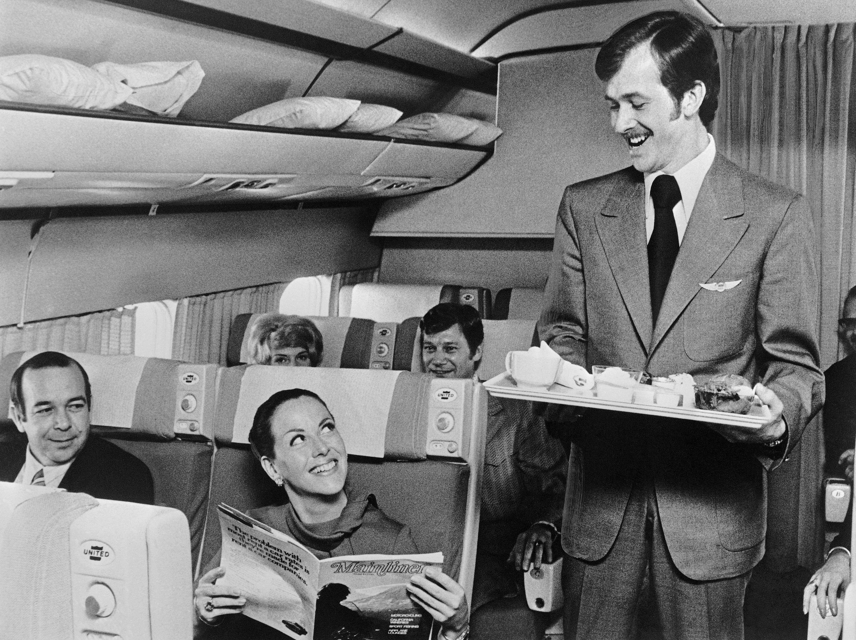 Furloughed Pilot As Flight Attendant 1972