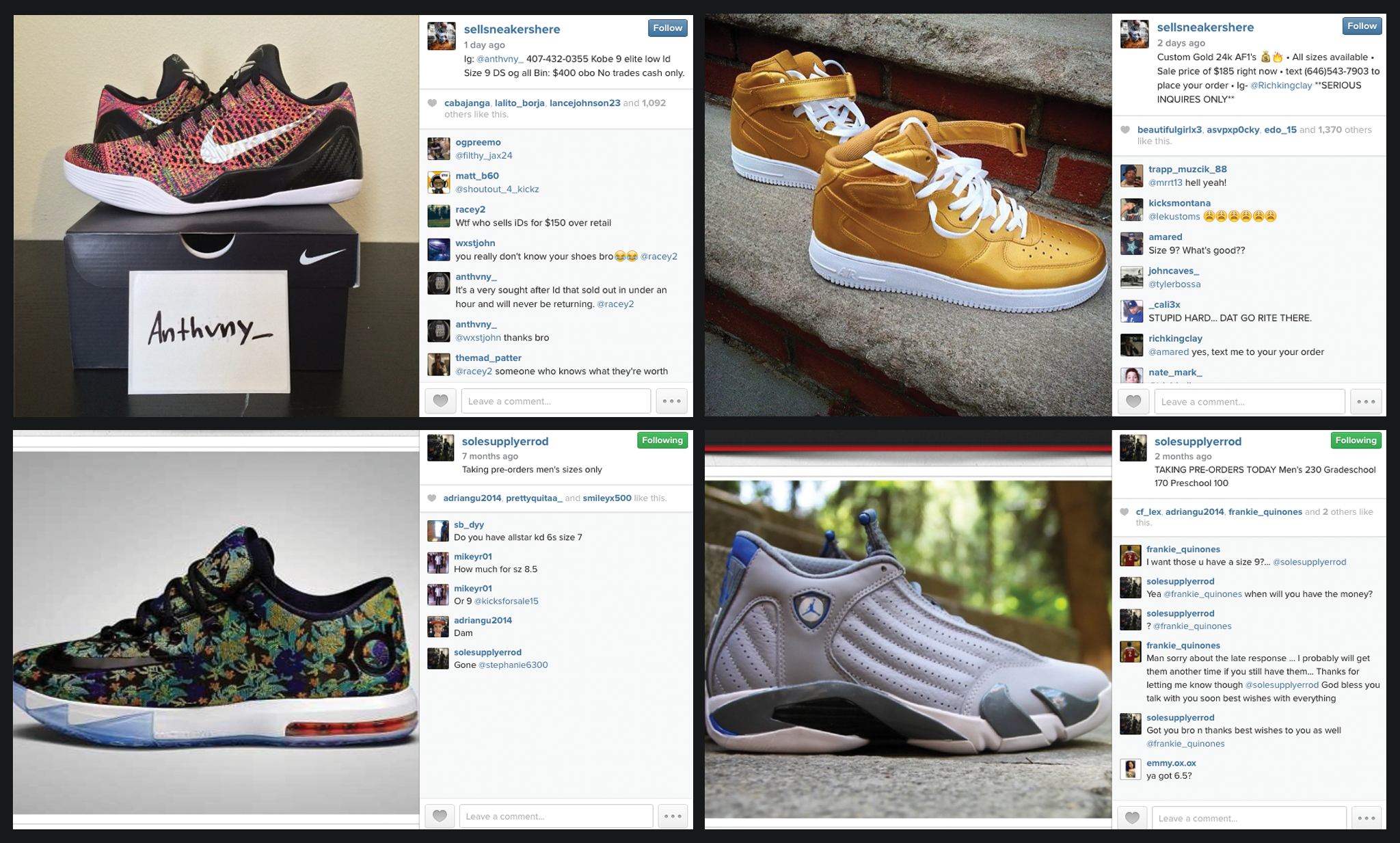 Sneaker re-sellers are increasingly finding their buyers through Instagram. ec9bf6713