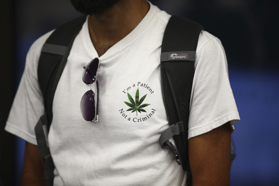 A supporter of marijuana reform at a debate in Boca Raton, Florida.