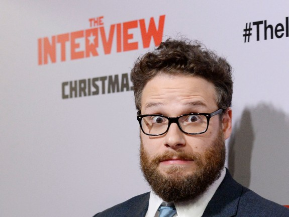 "Seth Rogen poses during premiere of ""The Interview"" in Los Angeles"