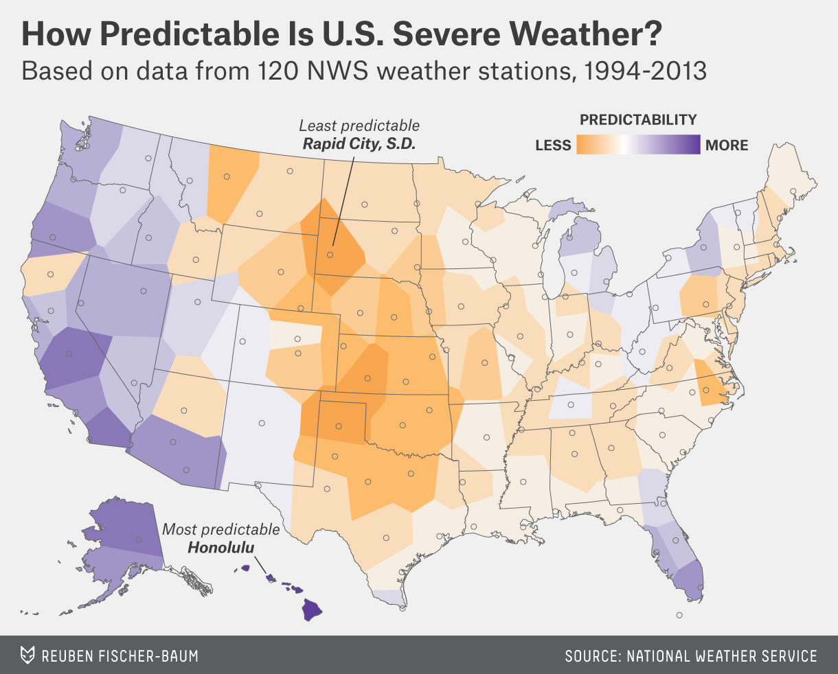 Which City Has The Most Unpredictable Weather? | FiveThirtyEight