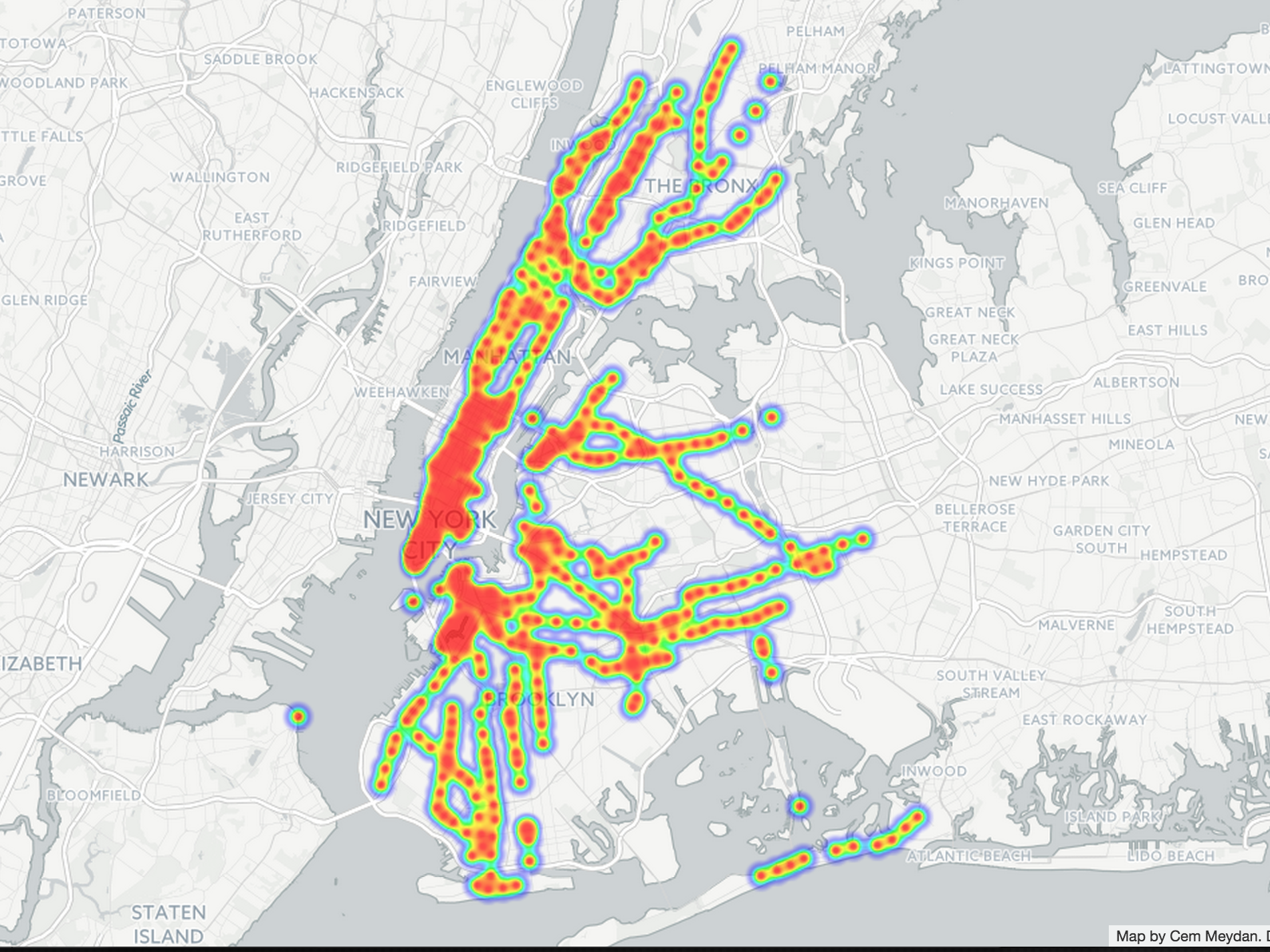 Heat map analysis of bacteria in New York City subway stations.