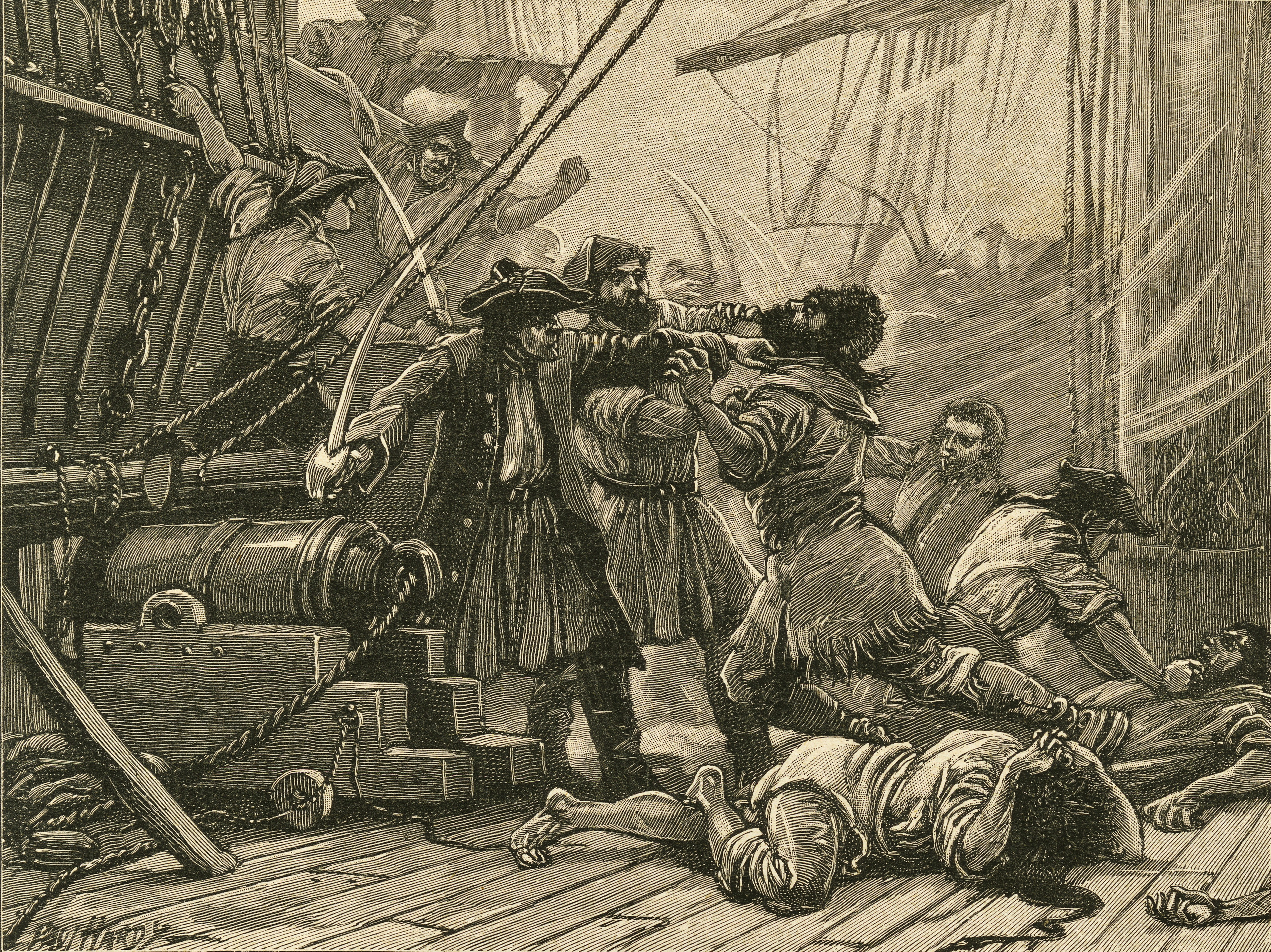 Pirates boarding a ship and overpower the crew -- 18th century.