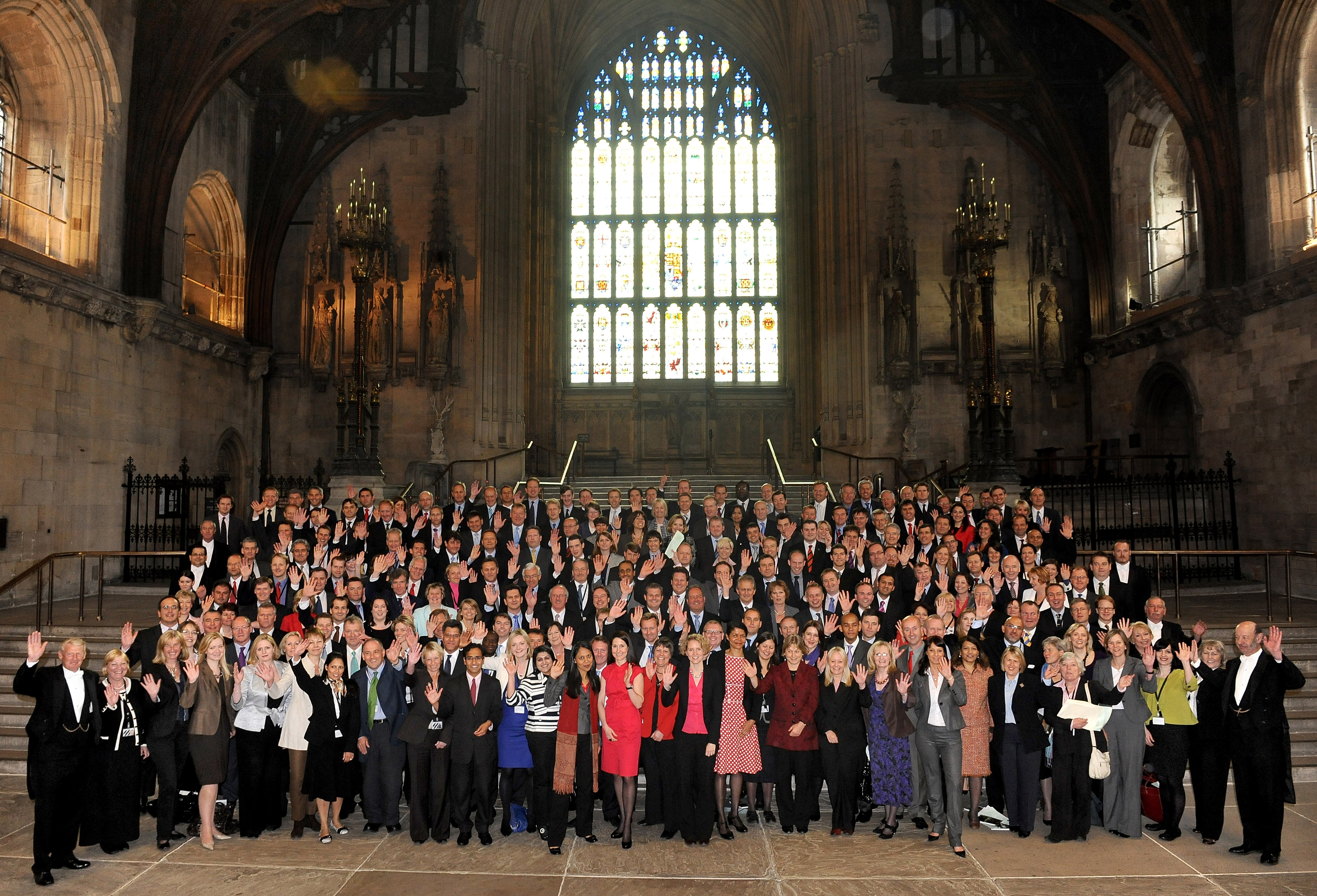 The majority of the 232 new MPs elected in the 2010 general election pose for a group picture.
