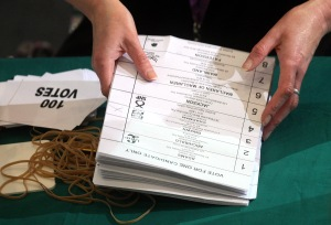A pile of ballot papers for the 2010 General Election.