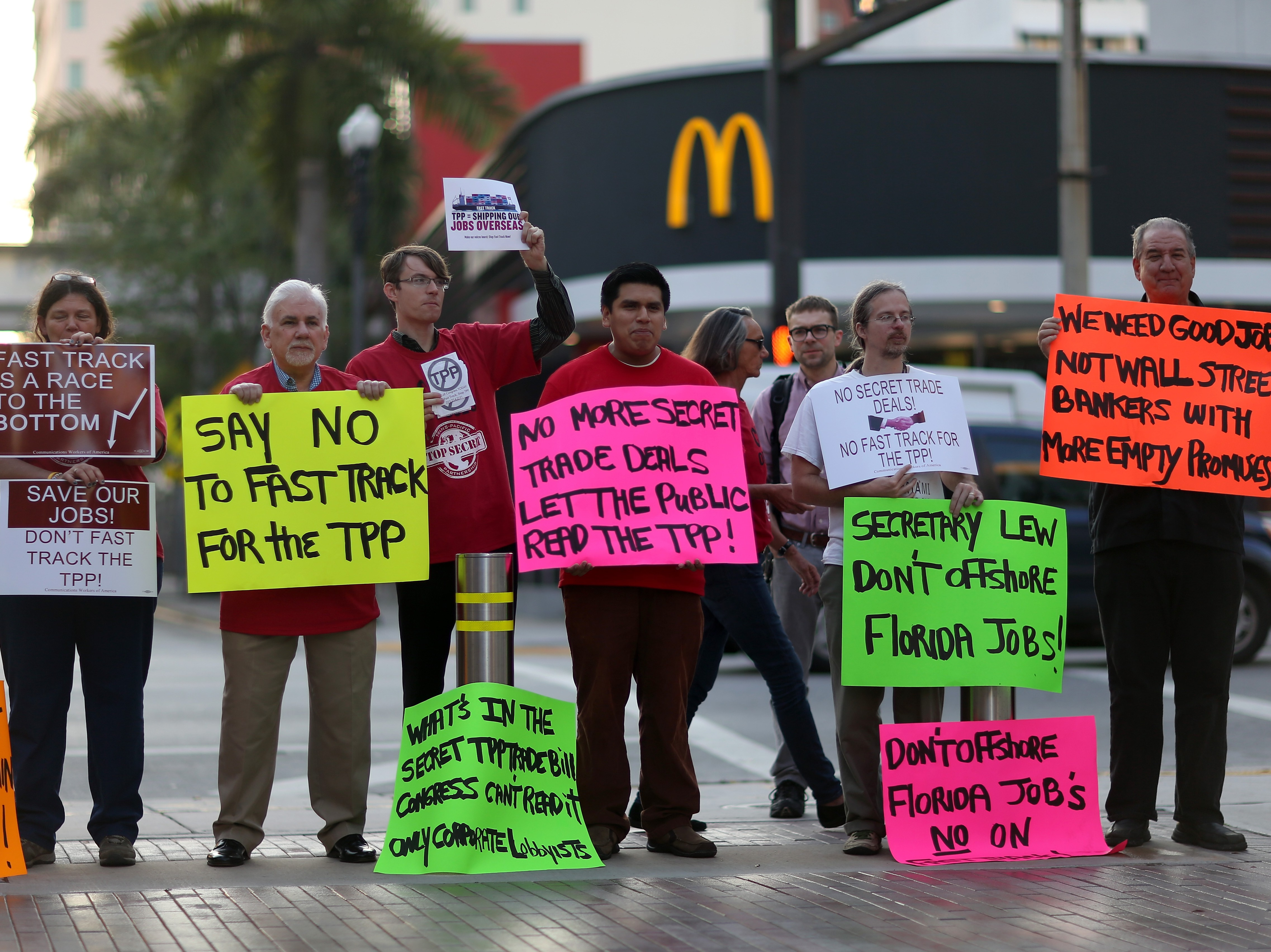 Labor Activists Protests Outside Treasury Secretary's Lew Talk At Miami Dade College