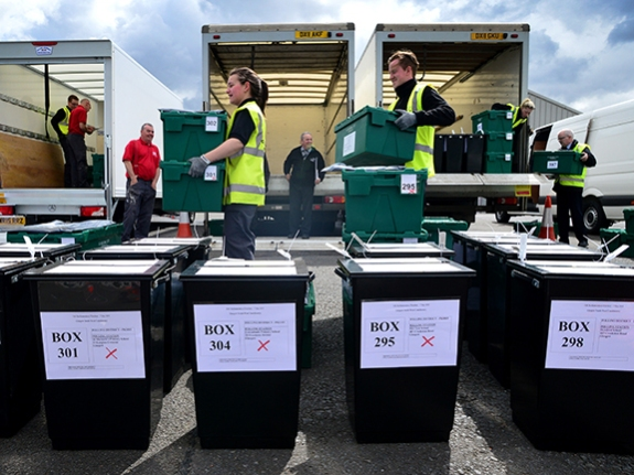 Ballot Boxes Being Picked Up For Delivery Across Scotland