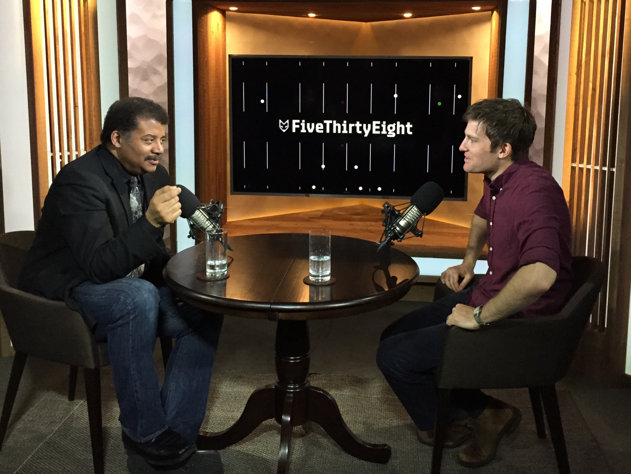 Neil deGrasse Tyson and Jody Avirgan in the FiveThirtyEight studios.