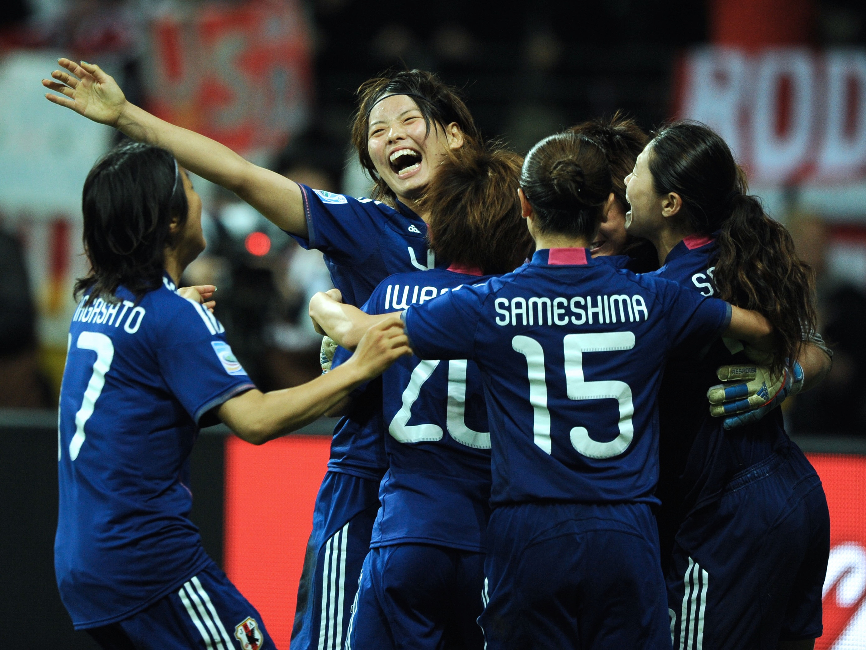 Germany Hesse Frankfurt am Main – FIFA Women's World Cup Germany 2011, final, Japan v USA 5:3 after penalty shootout – Saki Kumagai of Japan celebrating with her team-mates after scoring decisive pena