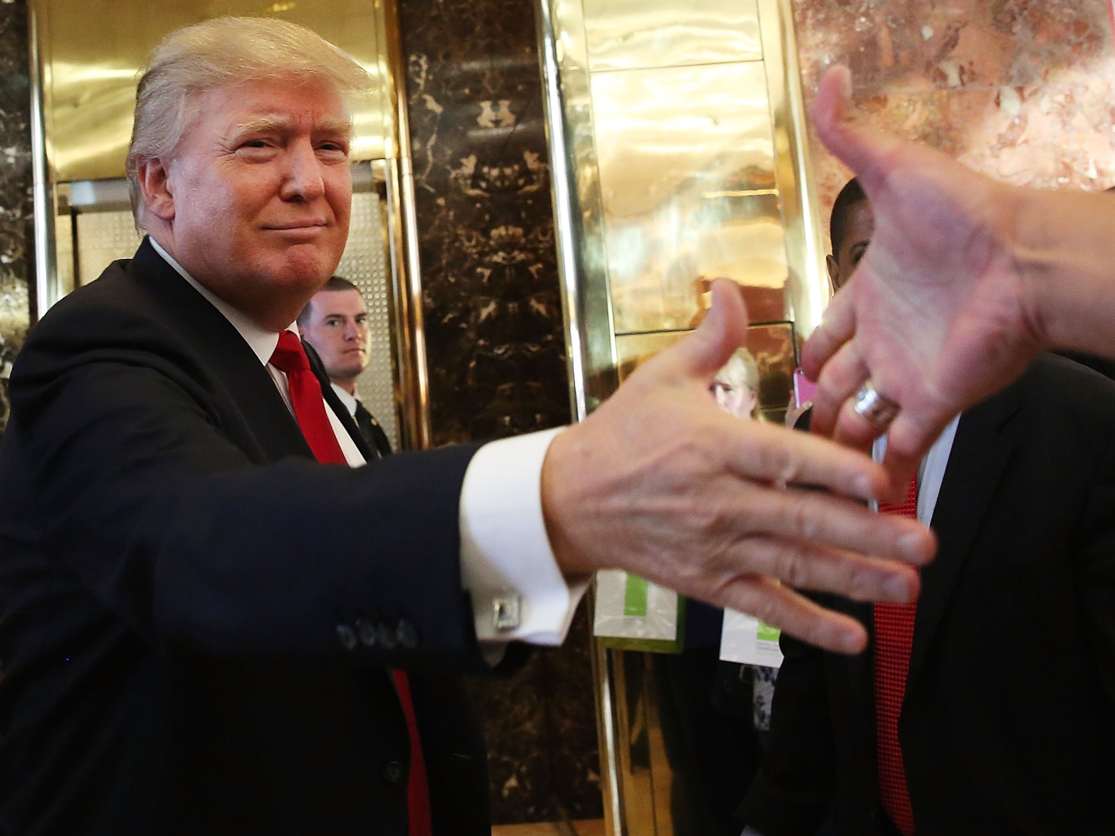Presidential Candidate Donald Trump Greets A Crowd After Taping TV Interview