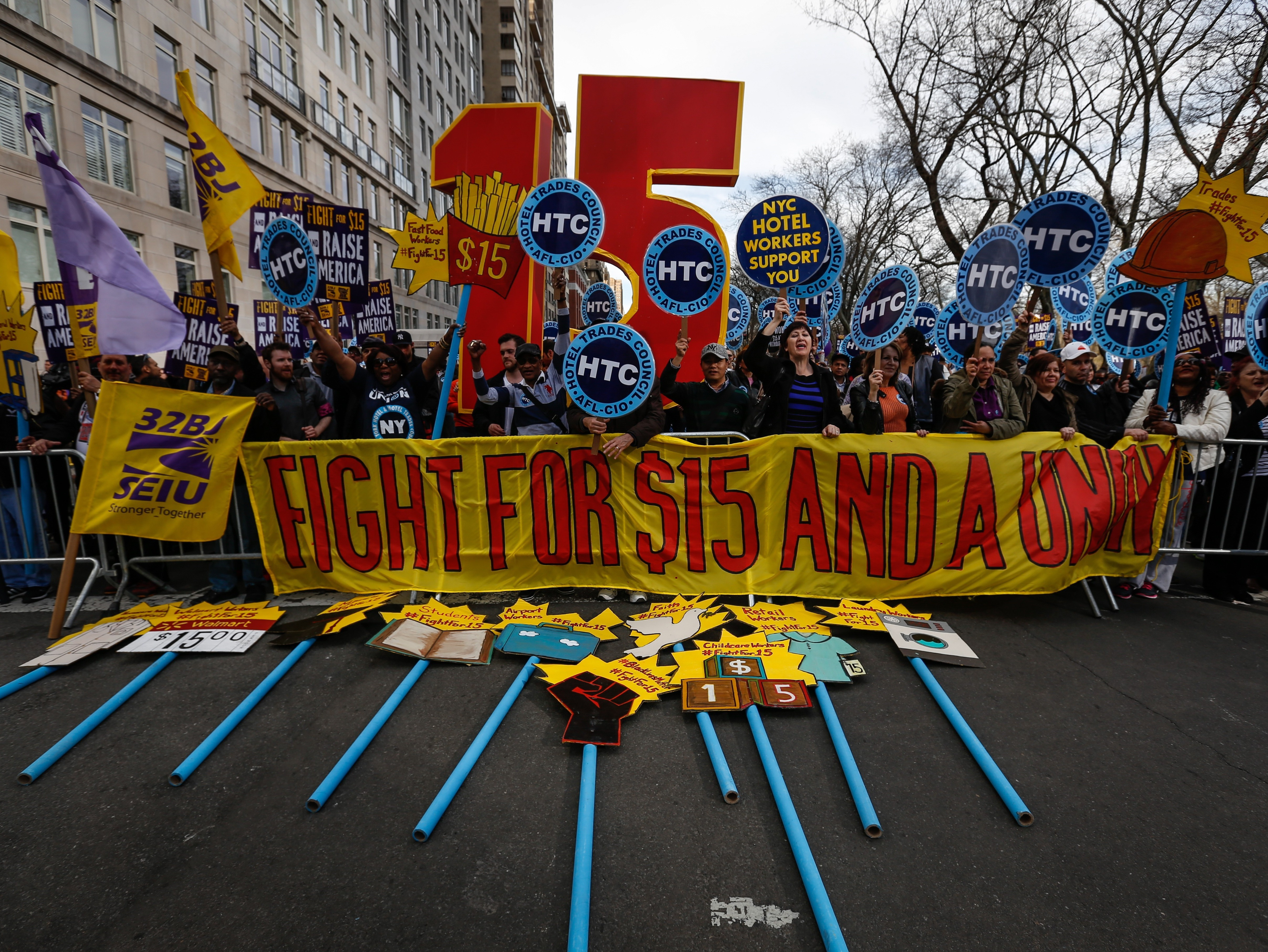'Fight For $15' protest in New York