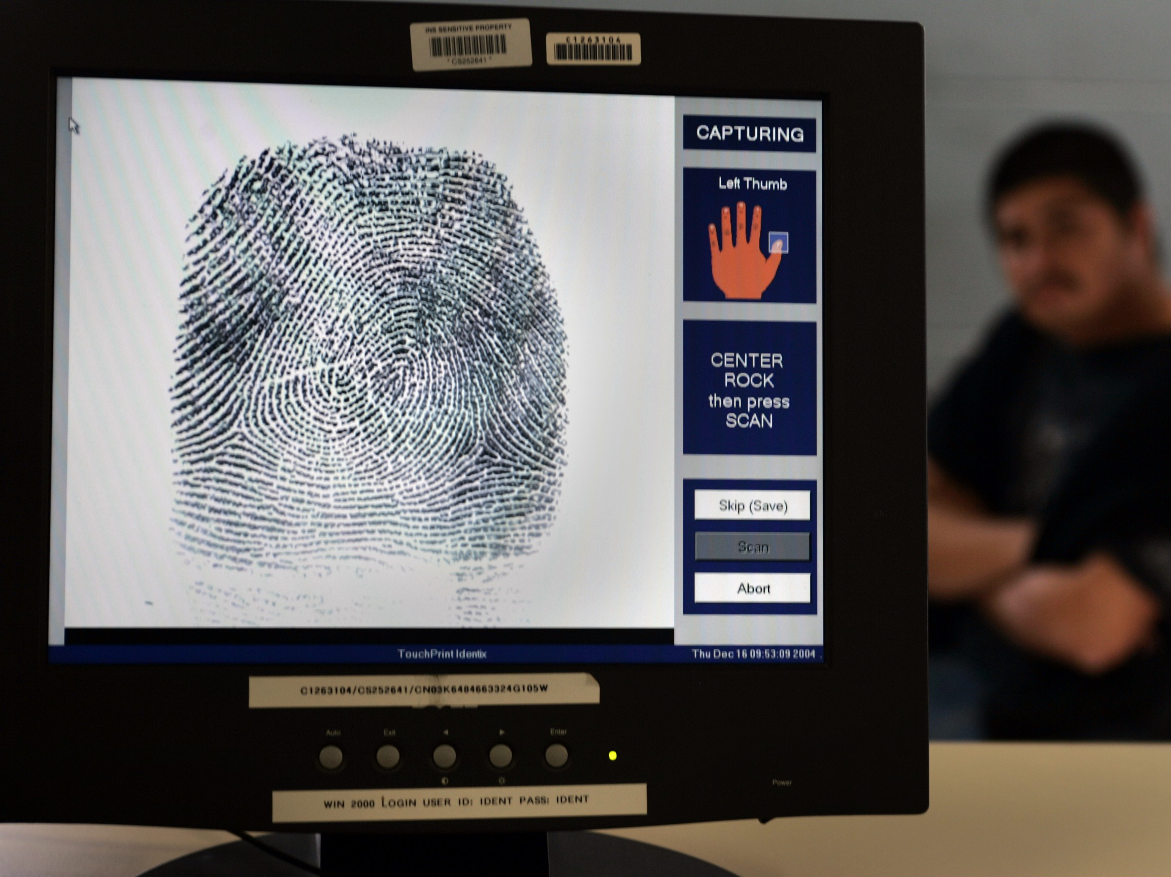An Illegal alien's fingerprint is scanned in the new Integrated Automated Fingerprint Identificatio