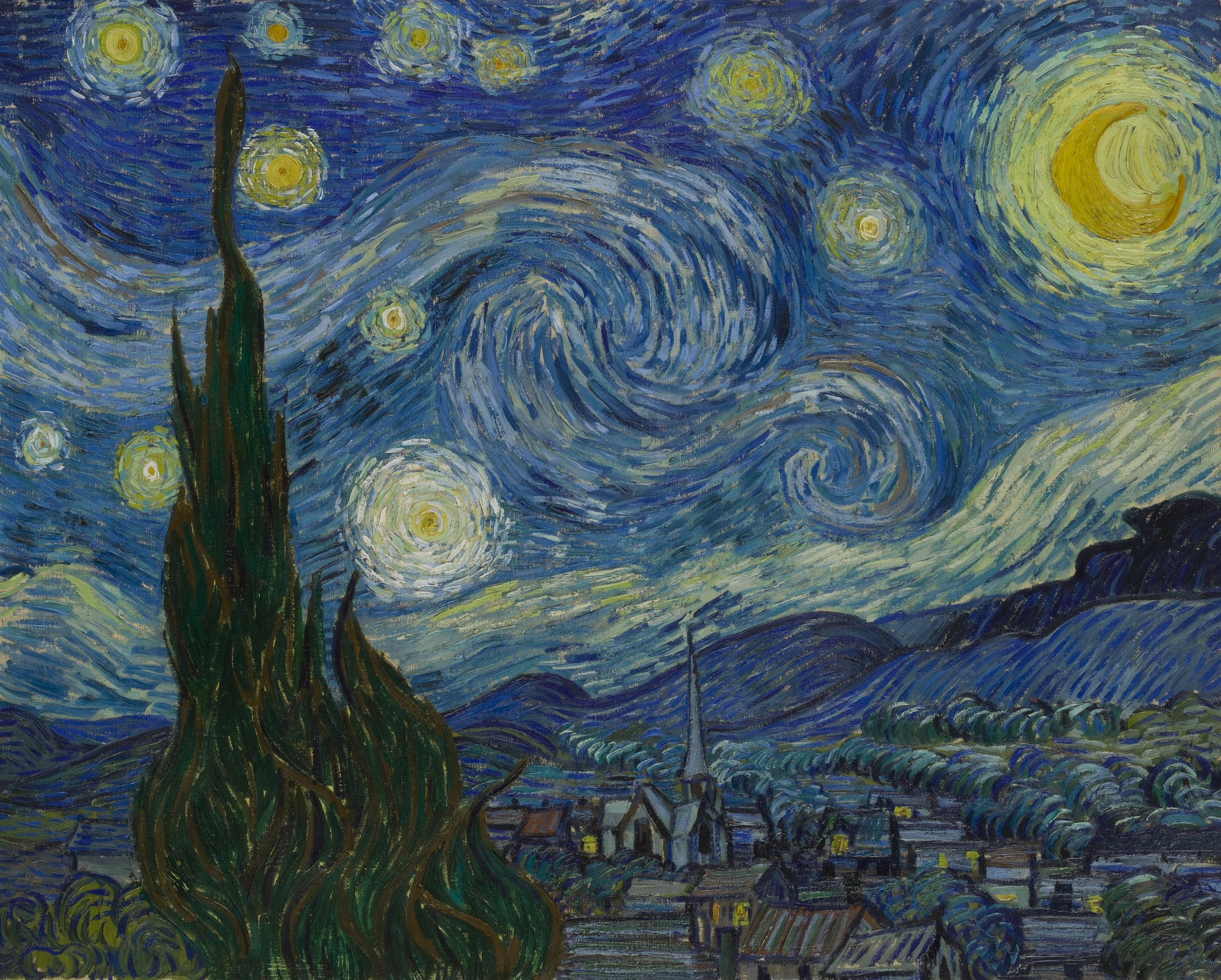"Vincent van Gogh, ""The Starry Night,"" Saint Rémy, June 1889."