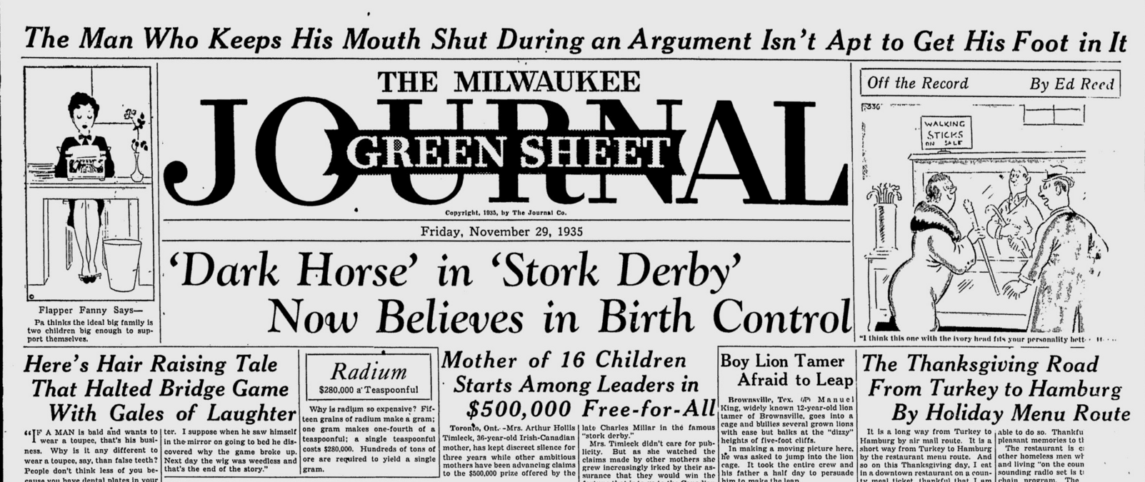An edition of The Milwaukee Journal from November 29, 1935.