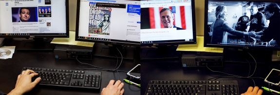 Nick Sarcone, an attorney, looks at political ads at his West Des Moines office on Jan. 13.
