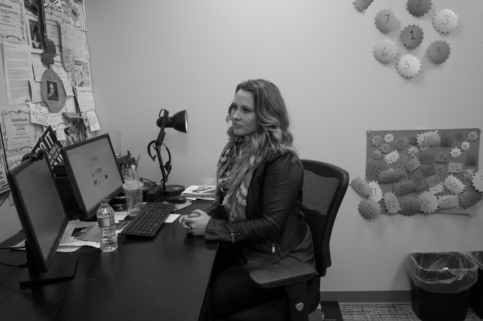Betsy Sarcone finishes the day at her real estate office in West Des Moines.