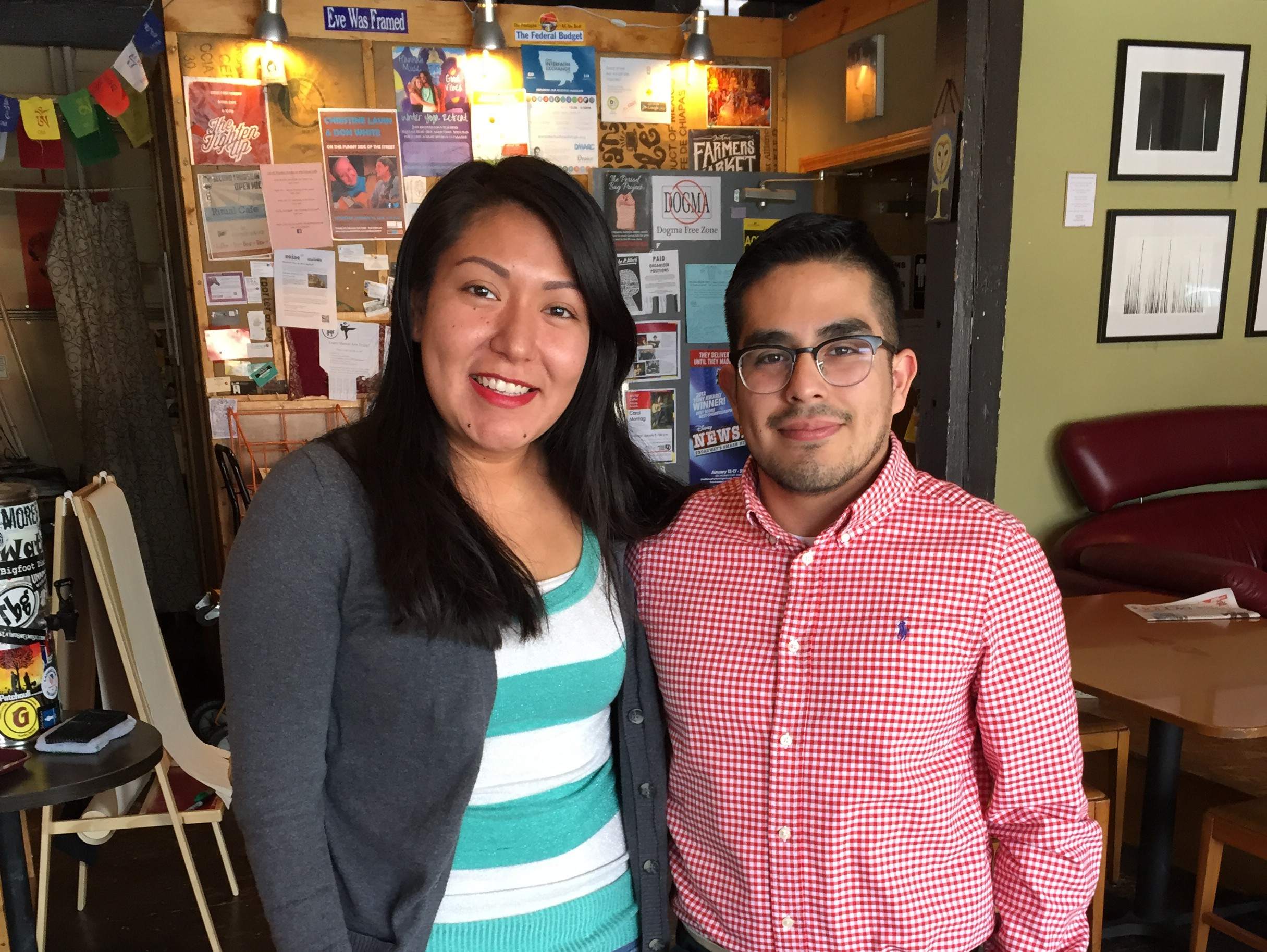 Monica Reyes, 25, and Hector Salamanca Arroyo, 22, at the Ritual Cafe in Des Moines.