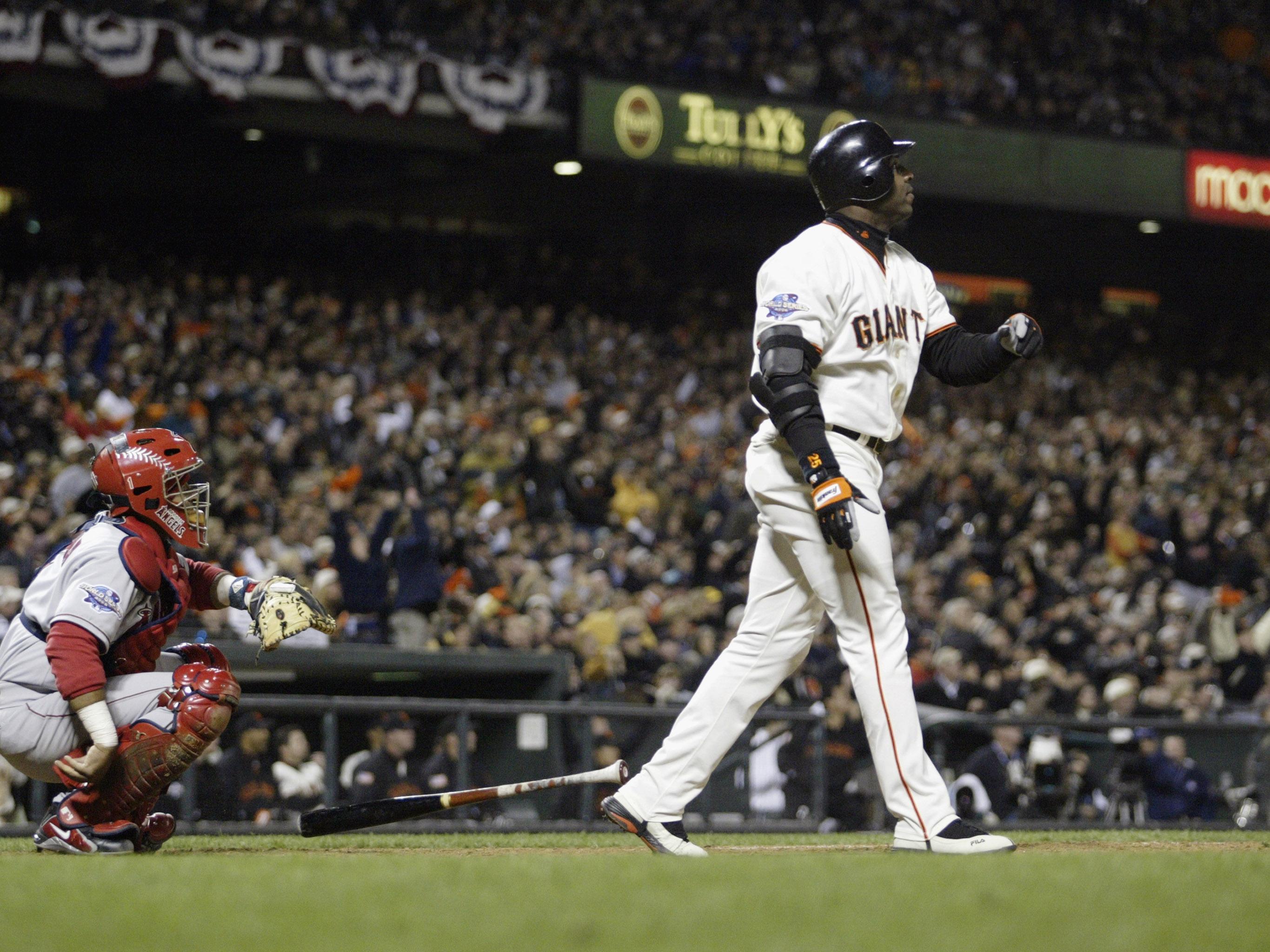 Barry Bonds hits a two run home run