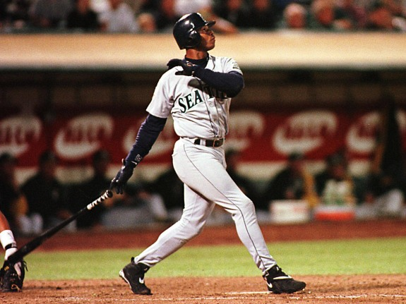 Seattle Mariners Ken Griffey Jr. watches his secon