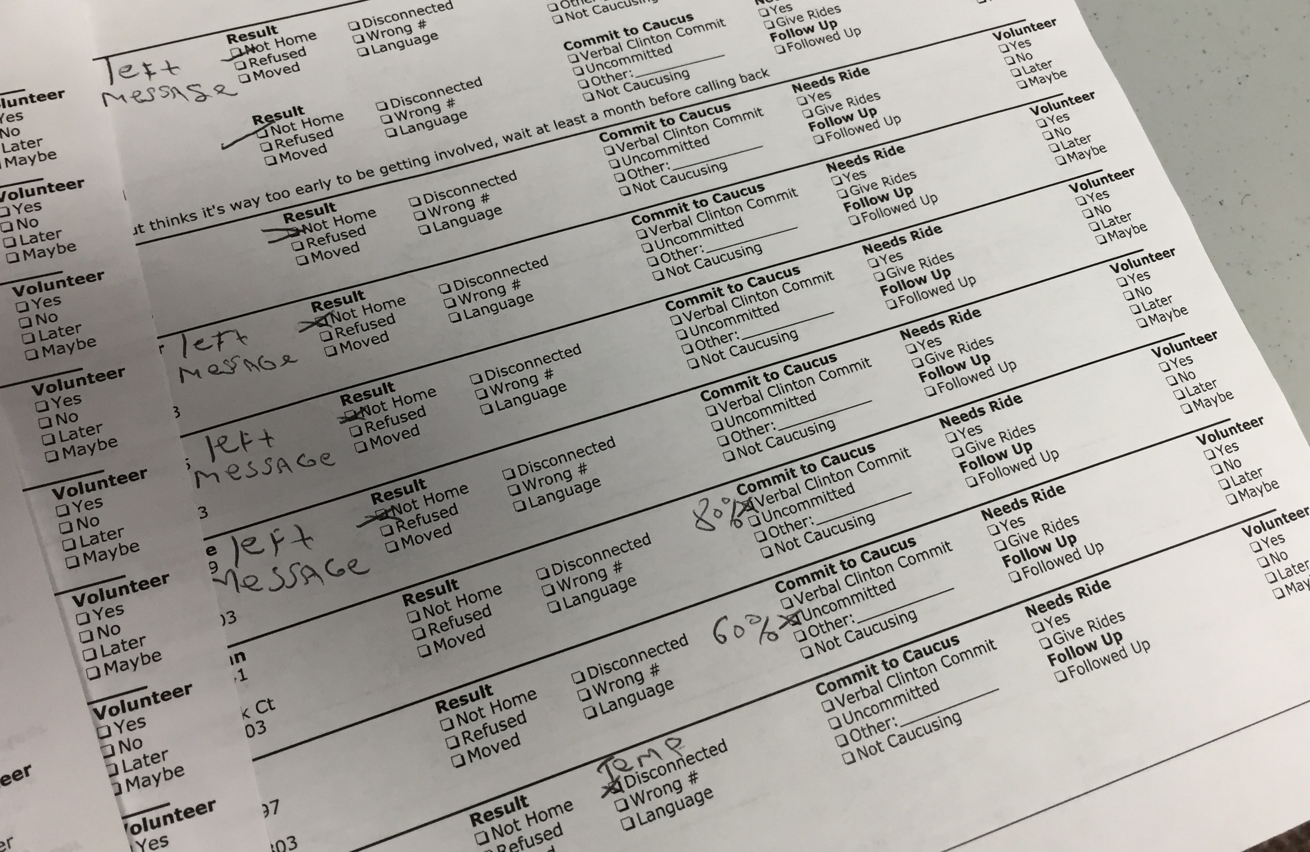 A call sheet used by volunteers at Hillary Clinton headquarters in Davenport, IA. Answers are logged on paper, then entered manually into the VoteBuilder database.