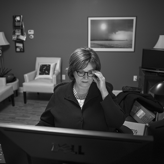 Selzer at her office in West Des Moines.