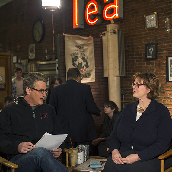 "Ann Selzer appears on MSNBC's ""Morning Joe,"" filmed at a coffeehouse in downtown Des Moines on Jan. 15."