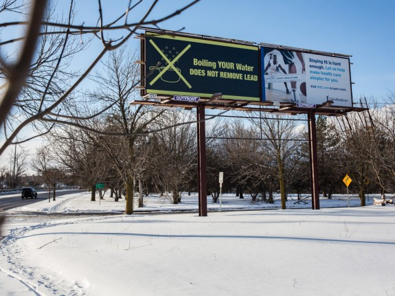 A billboard in Flint.
