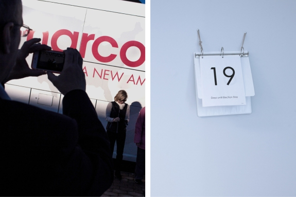 Left: Marco Rubio supporters in Atkinson on Thursday. Right: A countdown calendar to the New Hampshire presidential primary in the Manchester campaign headquarters of Rubio on Jan. 22.