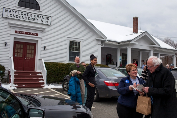 Bernie Sanders hosted a roundtable discussion with seniors and supporters at the Londonderry Senior Center in Londonderry, New Hampshire in January.