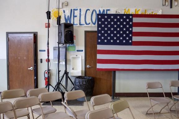 The McKelvie Intermediate School in Bedford, New Hampshire, on Saturday.