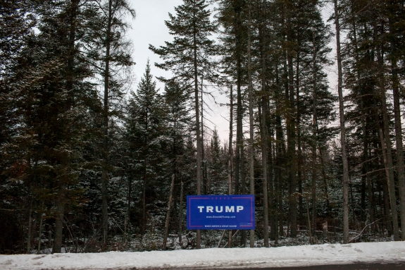 Campaign signs, like the Donald Trump sign just outside Whitefield, dot the landscape throughout northern New Hampshire.